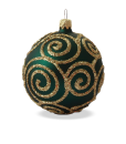 Christmas baubles baroque green set of 6