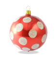 Christmas baubles polka dots red set of 6