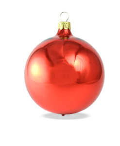 Christmas baubles red gloss set of 6
