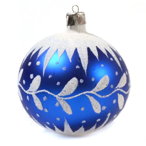 Christmas baubles glass glimmer blue set of 4