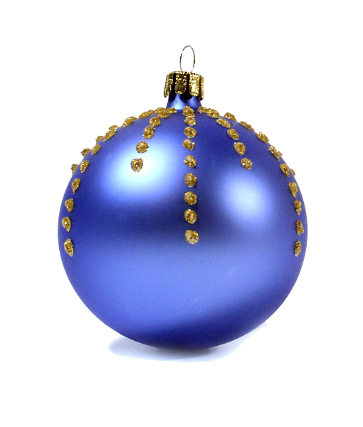 Special Offer Dark Blue Christmas Bauble With Golden Dots Set Of 6