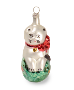 Christmas Ornament vintage cat with loop