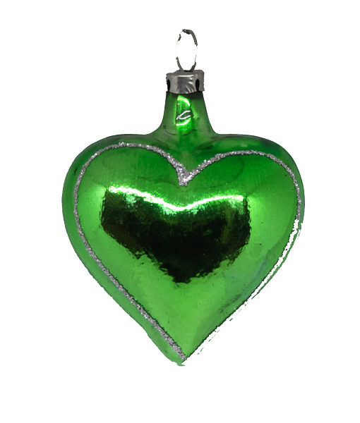 Christmas Heart.Christmas Ornament Heart Silver Edge Small Different Colors